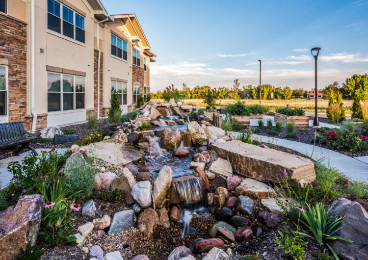 Waterfall feature - AltaVita Assisted Living in Longmont
