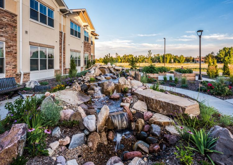 Longmont Assisted Living - AltaVita Exterior Waterfall