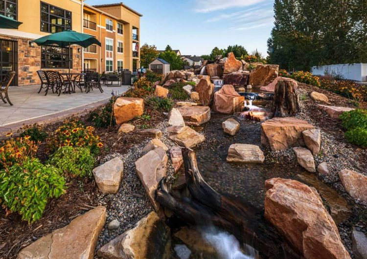 Water Feature Outdoor Courtyard AltaVita Independent Living Longmont, CO