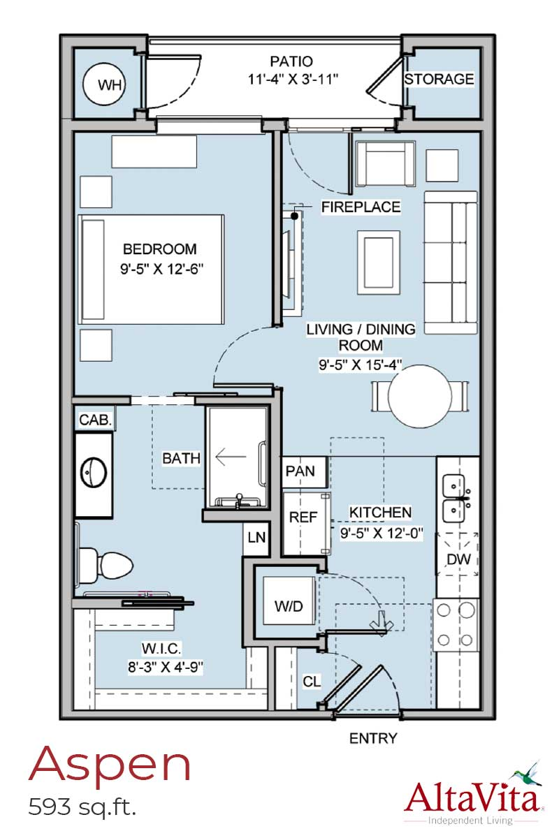 Aspen - AltaVita Independent Living Floor Plans in Longmont, CO