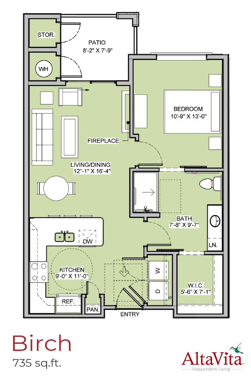 Birch - AltaVita Independent Living Floor Plans in Longmont, CO