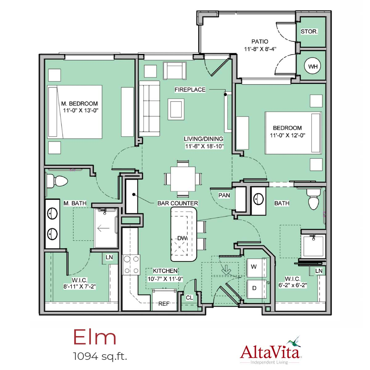Elm - AltaVita Independent Living Floor Plans in Longmont, CO